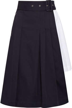 SEA - Pleated Cotton-twill And Poplin Skirt - Navy $365 thestylecure.com