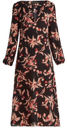 Dundas Printed Silk Georgette Midi Dress - Womens - Black Pink