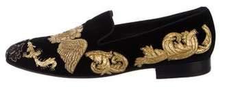 Louis Leeman Embellished Velvet Loafers