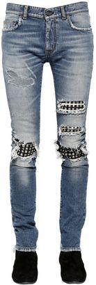 15cm Studded Leather Patch Denim Jeans $1,350 thestylecure.com