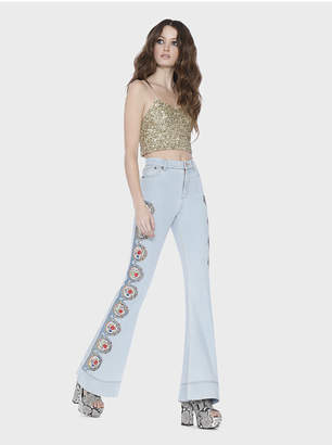 Alice + Olivia Kayleigh Embroidered Hw Bell Jean