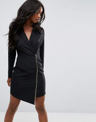 Asos Long Sleeve Midi Tux Dress With Zip Through Skirt