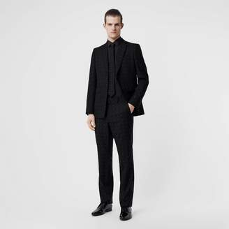 Burberry Classic Fit Fil Coupe Wool Cotton Tailored Trousers