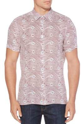 Perry Ellis Condensed Paisley Short-Sleeve Linen Button-Down Shirt