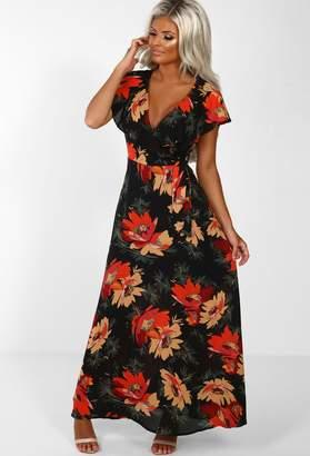 f175f1f1480 Pink Boutique Zintara Black Floral Frill Wrap Maxi Dress