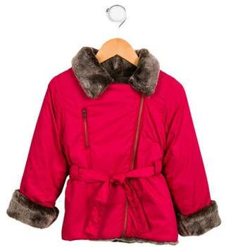 Lili Gaufrette Girls' Faux Fur-Trimmed Coat