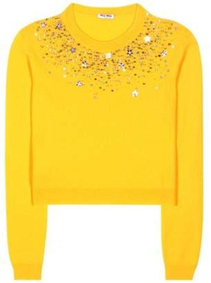 Miu Miu Embellished cashmere sweater