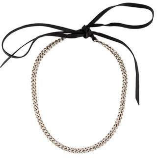 Hermes Curb Chain Leather Necklace