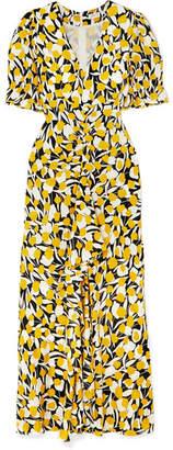 Rixo Ariel Ruffled Floral-print Cotton And Silk-blend Dress - Yellow