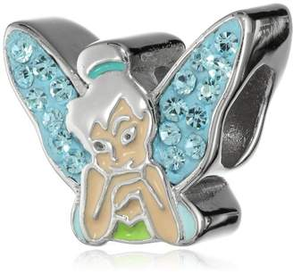 Disney Stainless Tinkerbell Crystal Wing and Enamel Bead Charm
