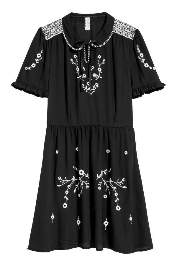 H&M Cotton Dress with Embroidery - Black/flowers - Women
