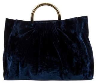 Stella McCartney Velvet Tote Bag Navy Velvet Tote Bag