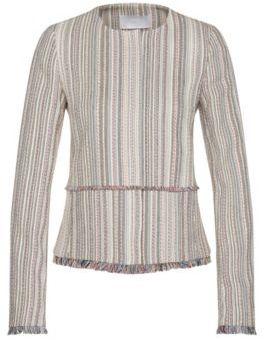 Hugo Boss Kolara Cotton Multi-Stripe Fringed Blazer 4 Patterned $575 thestylecure.com