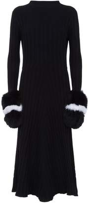 DAY Birger et Mikkelsen Izaak Azanei Fur Cuff Knit Midi Dress