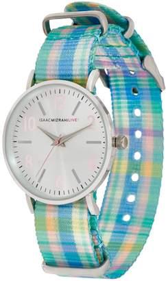 Isaac Mizrahi Live! Madras Plaid Grosgrain Strap Watch