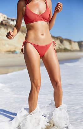LA Hearts Red Ribbed Side Tie Cheeky Bikini Bottom