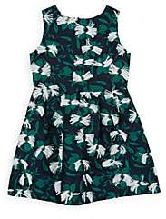 Charabia Kids' Floral Jacquard Dress-Navy