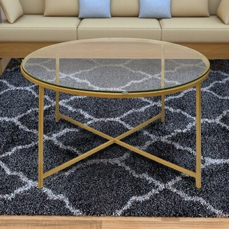 Mercer41 Dryer Round Metal Coffee Table with Tray Top Mercer41