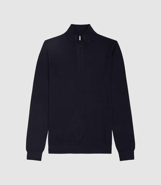 Reiss Blackhall - Merino Wool Zip Neck Jumper in Midnight Navy