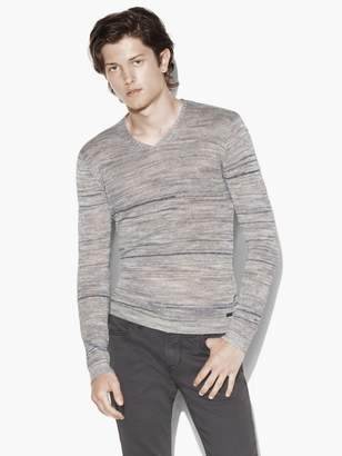 John Varvatos Broken Stripe V-Neck Sweater