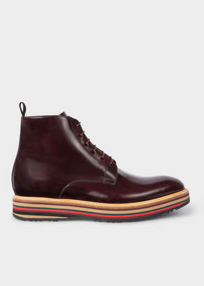 Paul Smith Mens Bordeaux Leather Corelli Boots With Multi-Coloured Soles