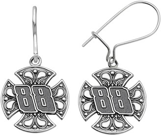 "Insignia Collection NASCAR Dale Earnhardt Jr. Stainless Steel ""88"" Maltese Cross Drop Earrings"