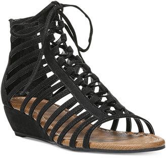 Carlos by Carlos Santana Cornelia Gladiator Lace-Up Wedge Sandals $69 thestylecure.com