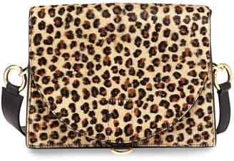 Sacai Hybrid Leopard Cow Hair & Leather Satchel Bag