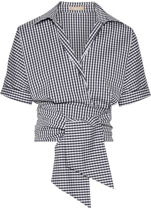 Michael Kors Collection - Cropped Gingham Cotton-blend Poplin Wrap Top - Navy $550 thestylecure.com
