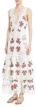Brock Collection Darling Plunging Sleeveless Lace Day Dress w/ Cherry Embroidery