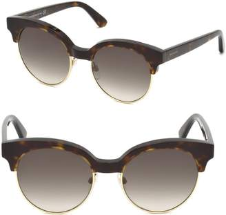 Balenciaga 51MM Tortoise Trim Round Sunglasses