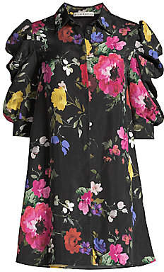 Alice + Olivia Women's Jem Floral Puff-Sleeve Mini Shirtdress