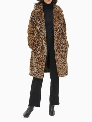 Calvin Klein Leopard Print Faux Fur Open Coat