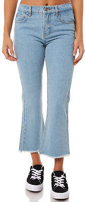 New Afends Women's Womens Reeves Mid Waist Crop Flare Jeans Cotton Elastane Blue