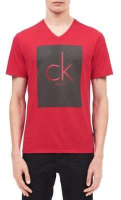 Calvin Klein Jeans CK Printed Panel V-Neck Cotton Tee