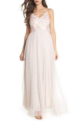 Adrianna Papell Embellished Bodice Tulle Gown