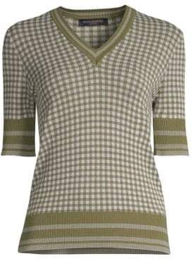 Piazza Sempione Mini Gingham V-Neck Sweater