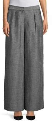 H Halston Wide-Leg Chambray Trouser