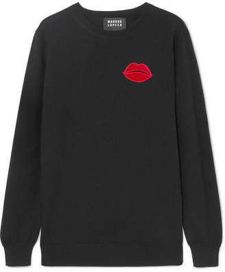 Markus Lupfer Natalie Appliquéd Merino Wool Sweater - Black