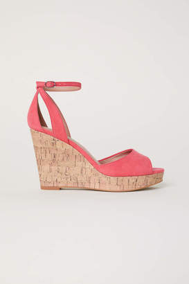 H&M Wedge-heel Platform Sandals - Coral - Women