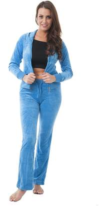 Hollywood Star Fashion Velour Classic Hoodie Sweat Suit Jacket and Pants Set Velvet Tracksuit Back & Front Pockets