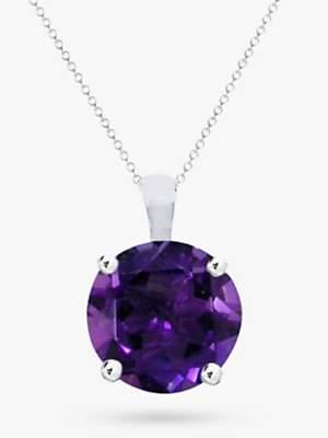 EWA 9ct White Gold Amethyst Pendant Necklace, Purple