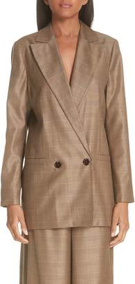 Ganni Double Breasted Check Silk & Wool Blazer