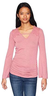 Amy Byer A. Byer Women's Flare Sleeve Top With Lace Trim (Junior's)