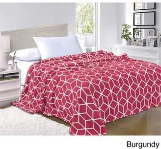Elegant Comfort Micro-Fleece Cube Pattern - All Season Blanket, King/California King, Burgundy