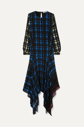Preen Line Coco Asymmetric Fringed Checked Crepe De Chine Dress - Black