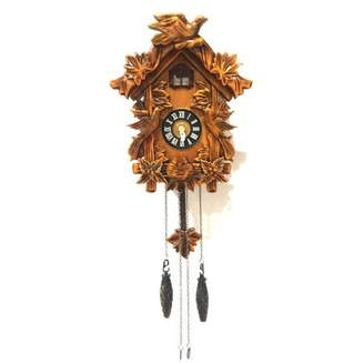 ALEKO Handcrafted Wooden Cuckoo Wall Clock with Chirping Bird - 10.5 x 9 x 5 Inches - Brown