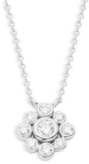 Kwiat 18K White Gold Diamond Cluster Pendant Necklace
