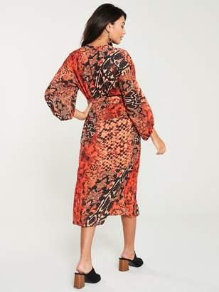 Wallis Sunset Snake Shirt Dress - Orange