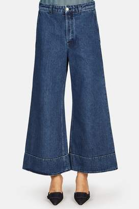 Acne Studios High Waisted Cropped Wide Leg Jean - Dark Blue